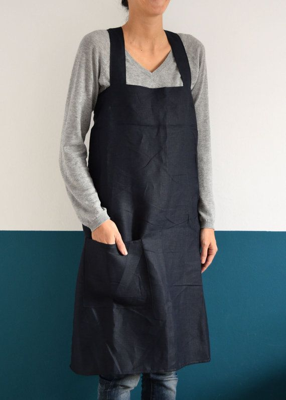 Japan Apron Linen, Cross Apron, Simple squared design for Kitchen, Garden, Small…