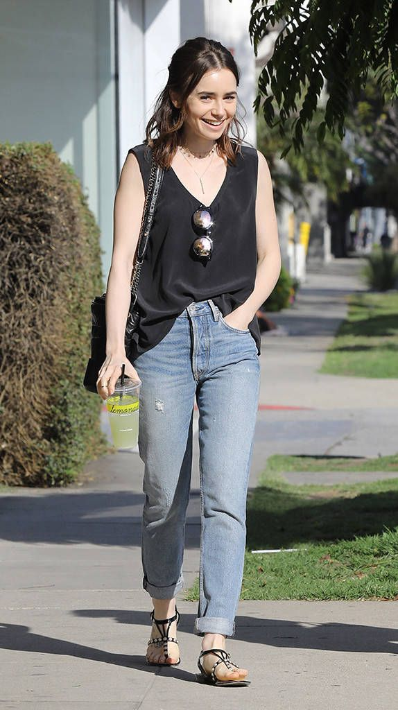 Lily Collins from The Big Picture: Today's Hot Photos  Urban chic! The star is all smiles while leaving Lemonade in West Hollywood.