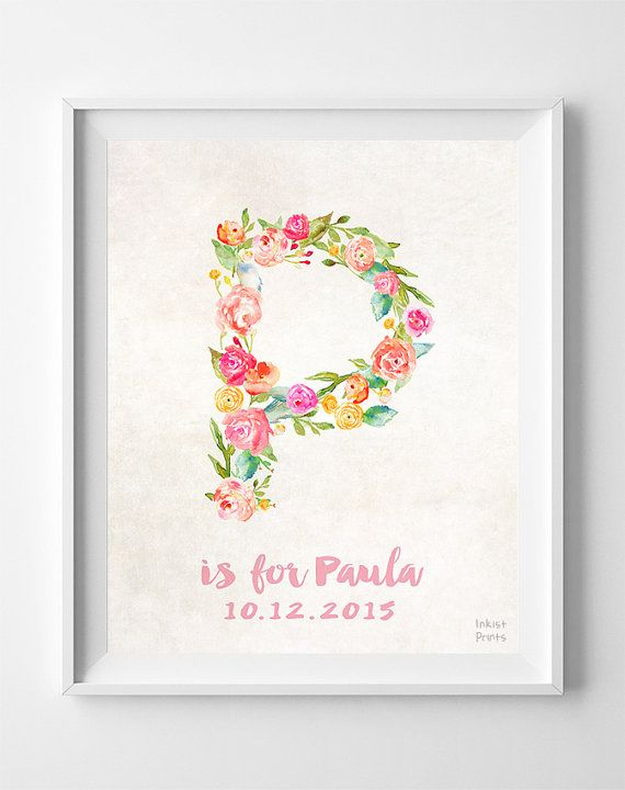 Initial Print, Customizable Poster, Personalized Baby Gifts, Peggy, Patrice, Pauline, Pam, Pheobe, Personalized Prints, Easter Decorations