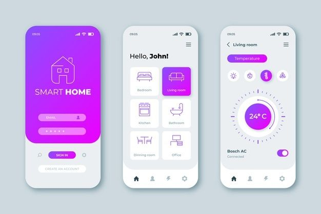 Smart Home App Interface Free Vector Freepik Freevector Technology Phone Home Mobile In 2020 App Interface Onboarding App Music Player App