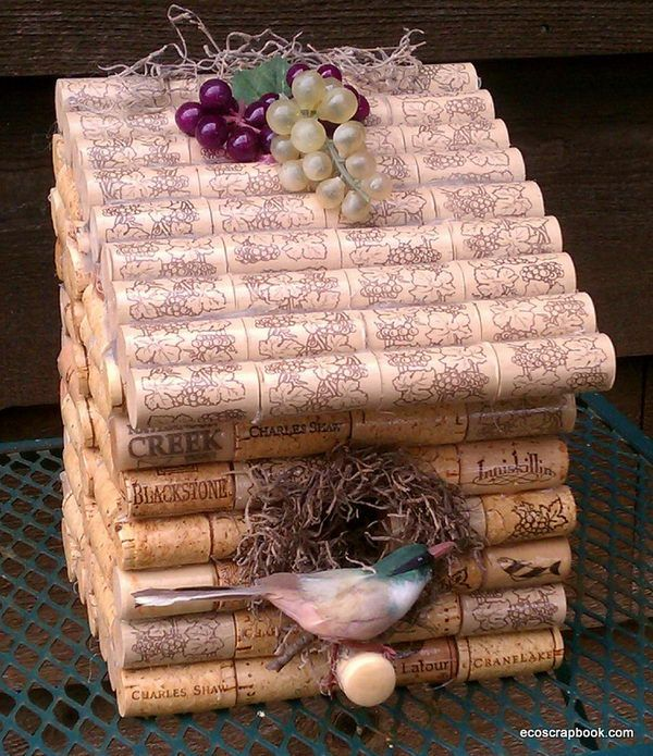 Wine Cork Bird House.  Plastic corks for bird house roofs...genius.