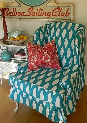 Frugalicious Me: Wingback Chair Slipcover   Gathered Skirt At Corners