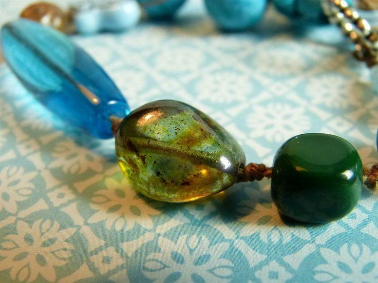 Turquoise & Groen Geknoopte Armband Vlinder, Tsjechisch Glas, Keramiek & Sari zijde