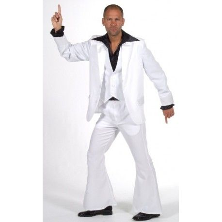 Déguisement Disco Fever homme, Superbe Costume Disco très Chic complet avec Veston pour homme Qualité de Luxe