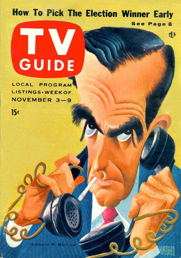 TV Guide, November 3, 1956 — Edward R. Murrow by Al Hirschfeld