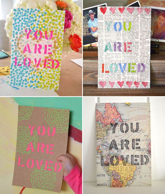 Stencil Art You Are Loved for Father's Day - DIY Kids Art Gifts