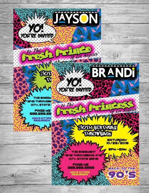 90's Theme Fresh Prince/Princess Hip Hop - Digital Birthday Invitation   CreativeBlueprints - Children's on ArtFire