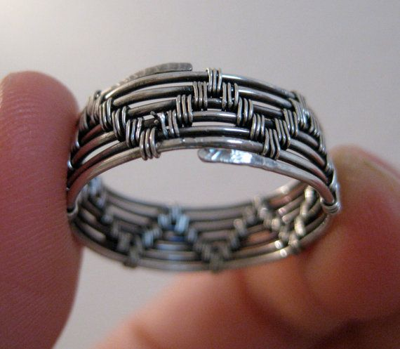Wire wrapped ring men's women's sterling silver by kattaca on Etsy