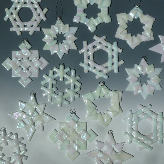 White Iridized Fused Glass Snowflakes - great idea for an Art Night Out