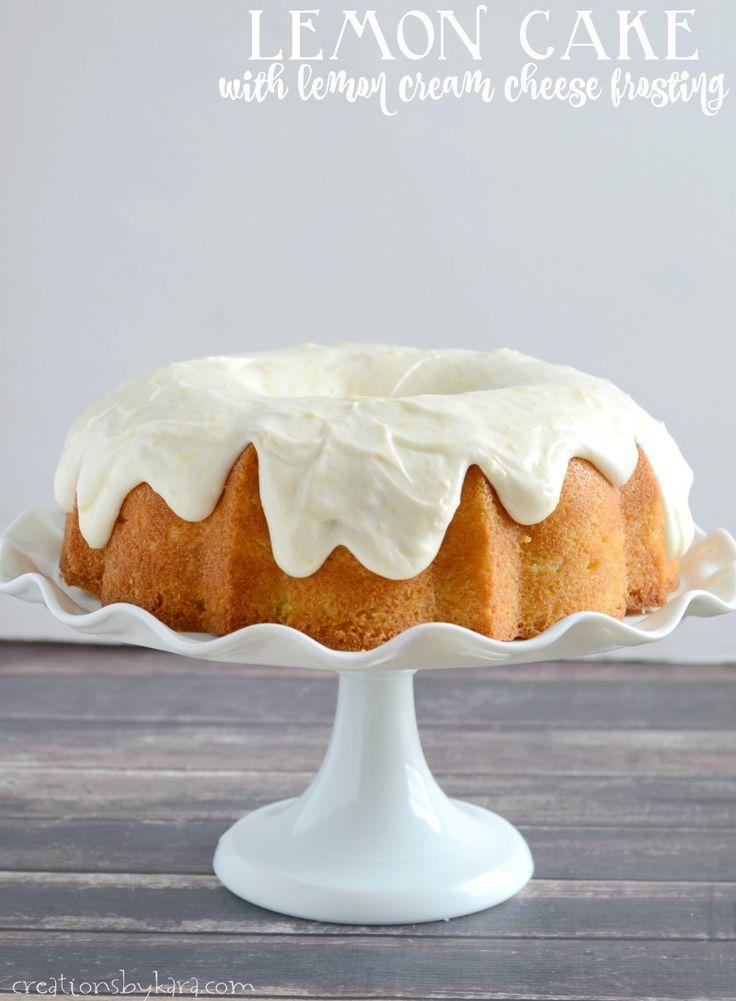 Lemon Bundt Cake with lemon cream cheese frosting. A perfect cake for lemon lovers.