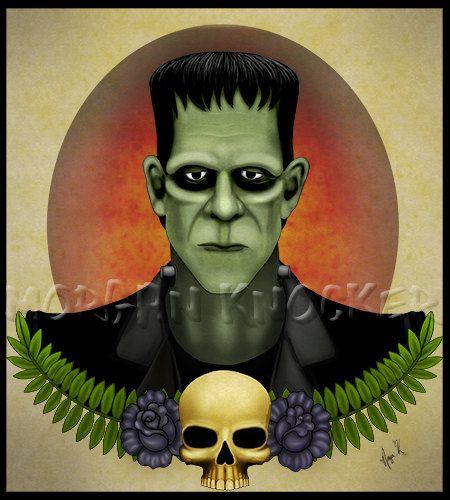 Frankenstein Canvas print, Tattoo Flash Art by ...  Frankenstein Ca...