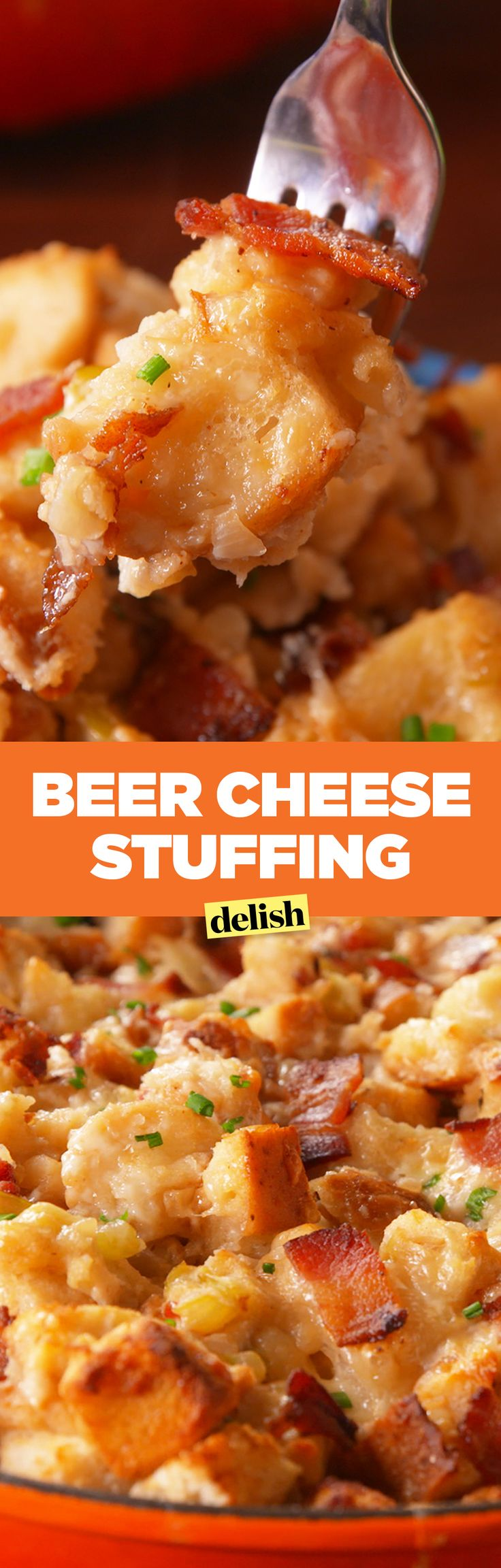 Beer cheese stuffing is the most delicious stuffing you've ever tasted. Get the recipe on Delish.com.