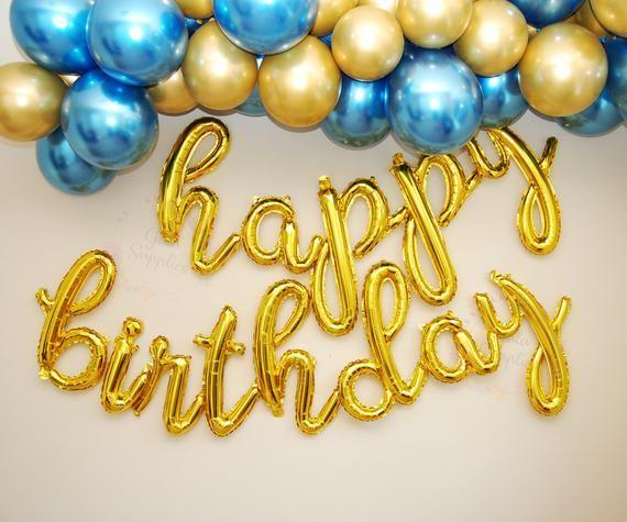 Custom Letter Balloon Banner Gold Silver Mylar Custom Letter Party Banner Party Decorations Number Balloons Birthday Party Decor Name Banner