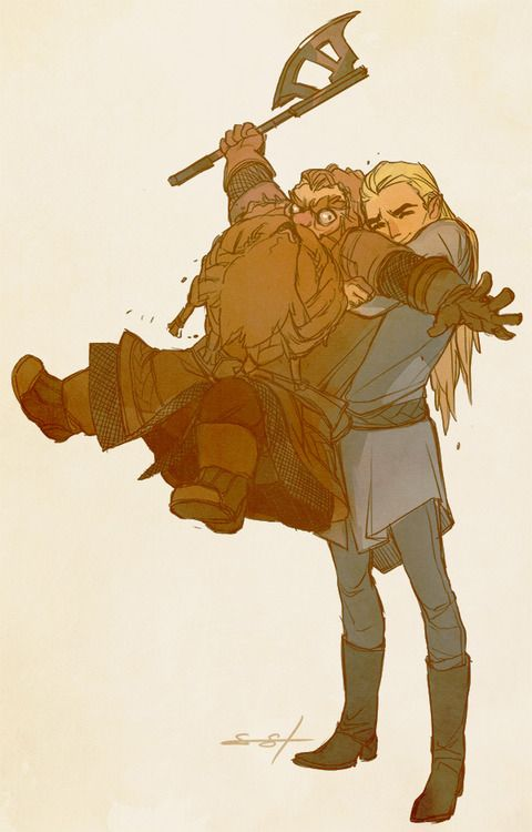 Gimli and Legolas awww