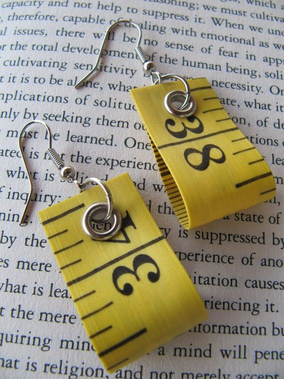 Earring recycled measure tape  Yellow by HomeMadeKarma on Etsy, $5.00