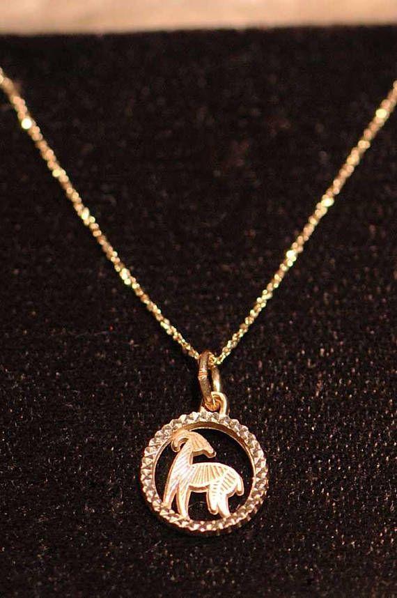 Vintage Zodiak Aries Ram Kjl 10k Gold Chain Pendant Necklace Gold Chain With Pendant 10k Gold Chain 10k Gold