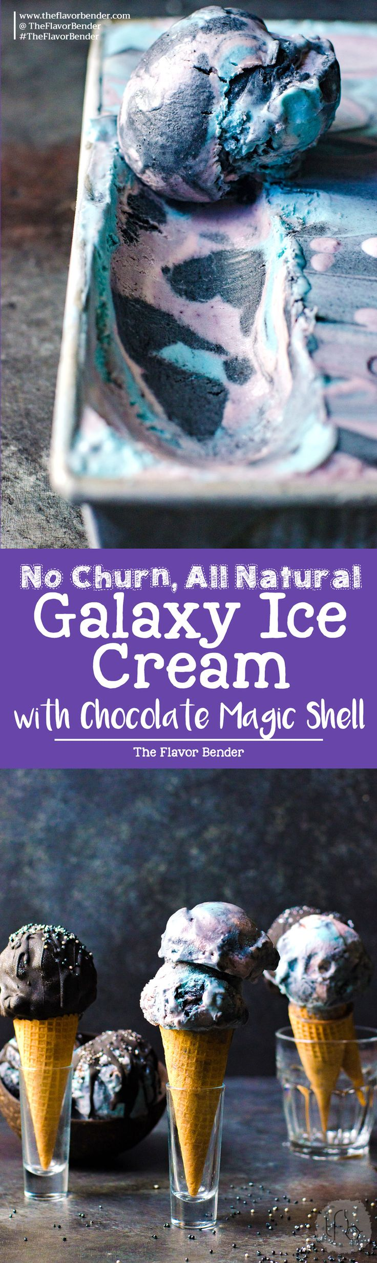 No churn Galaxy Ice cream - made with absolutely no food coloring and with fresh fruits, butterfly pea flower extract, and activated coconut charcoal. With pink, purple, blue and black swirls of mixed berry lemon ice cream and galaxy chocolate magic shell sauce and space funfetti - it's as delicious and magical as it looks!  via @theflavorbender