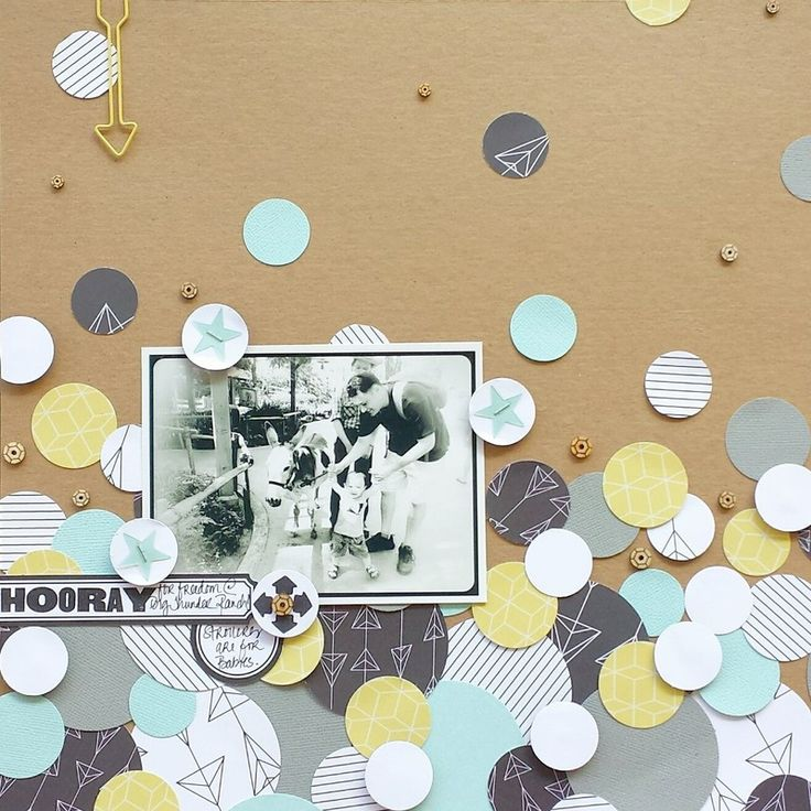 #papercraft #scrapbook #layout  Strollers are for babies. by welobellie at @studio_calico. Love the punched circles.