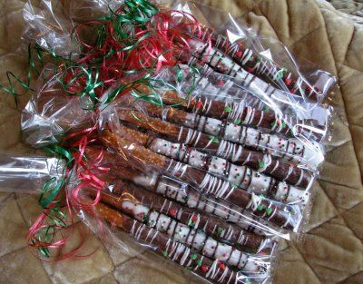 Pretzel Rods - decorate these a million different ways and package them up pretty for an easy and inexpensive gift.