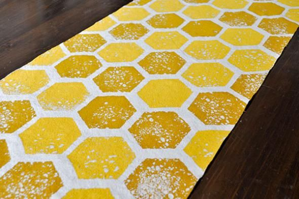 DIY Honeycomb Table Runner; might also be able to find some cool fabric that already works at Crafty Planet in NE Mpls