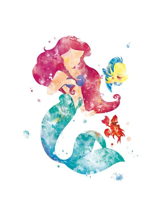 The Little Mermaid Ariel S Printable Artwork Painted Colorfully