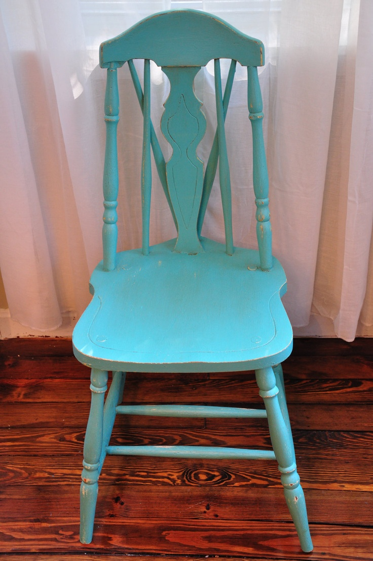Ideas for hand painted chairs - Distressed Vintage Wooden Chair Hand Painted Perfect Turquoise Project Number 2 Of My Craigslist Find