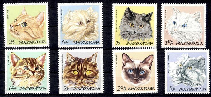 1968 Cats, Set of 8 stamps. Designs: 20f, Domestic cat. 60f, Cream Persian. 1fo, Smokey Persian. 1.20fo, Domestic kitten. 1.50fo, White Persian. 2fo, Brown-striped Persian. 2.50fo, Siamese. 5fo, Blue