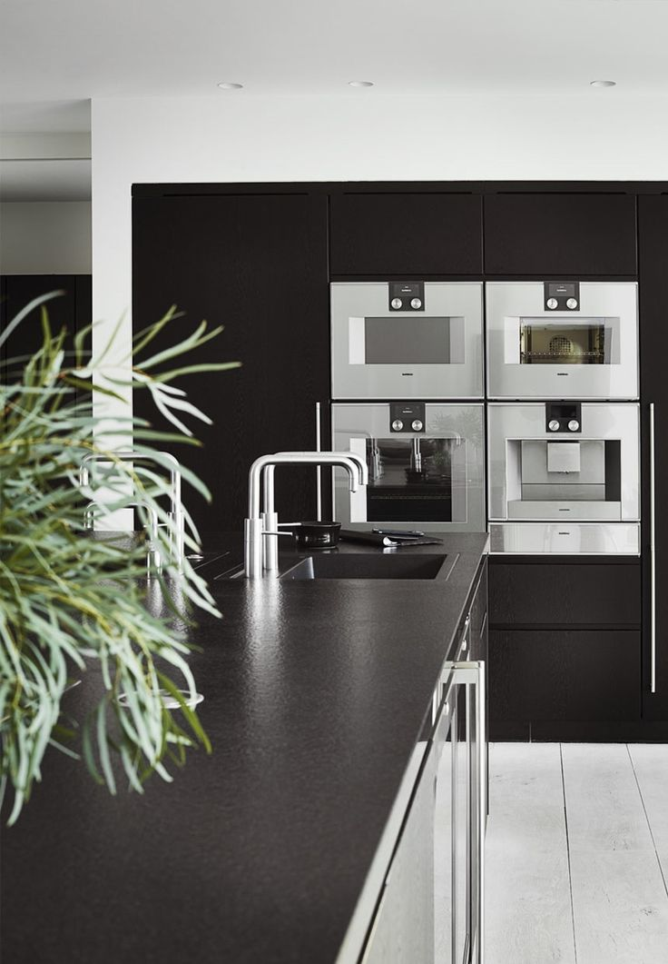 Modern And Black Kitchen With Faucets And Appliances From
