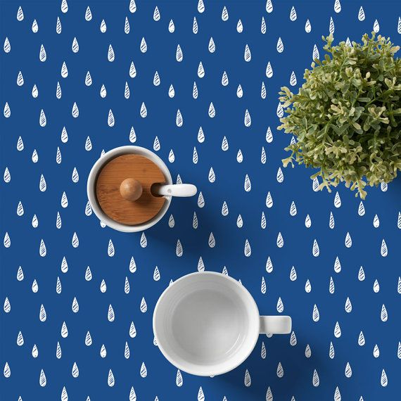 Scandinavian Tablecloth Cotton Tablecloth Rain by RiverOakStudio