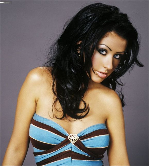 Christina Aguilera with black hair, or the only time she looked pretty.