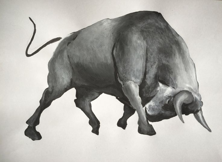 Bull sketch acrylic painting