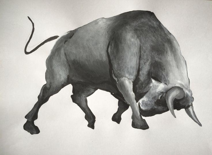 Bull sketch acrylic painting