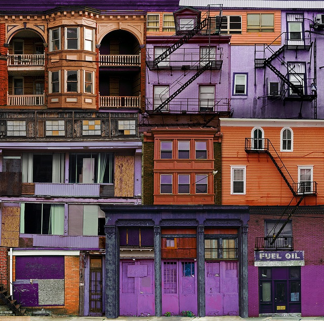 "@helveticaneue on Flickr...He had me going until he kindly added ""For more places that don't exist visit...""Doors, Orange, Purple Rain, Buildings, Exterior Colors, Colors Schemes, Places, Architecture, Colors Inspiration"