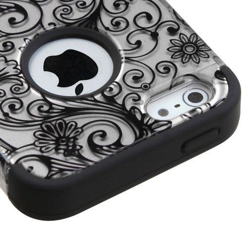 Apple iPhone 5 / 5s / iPhone SE Case, Kaleidio TUFF Armor Hybrid Cover (Includes a Overbrawn Prying Tool & Stylux Stylus) (Silver Clover Flowers). Made For - Apple iPhone 5 / 5s / iPhone SE. Made of durable hard plastic to protect your phone from dings and scratches. Silicone Inner Layer for Shock Absorption. Overbrawn (TM) prying tool features 3 sided construction for longer and easier use. Package includes Stylux dual sided stylus and pen combo with 3.5mm headphone jack insert so you'll...