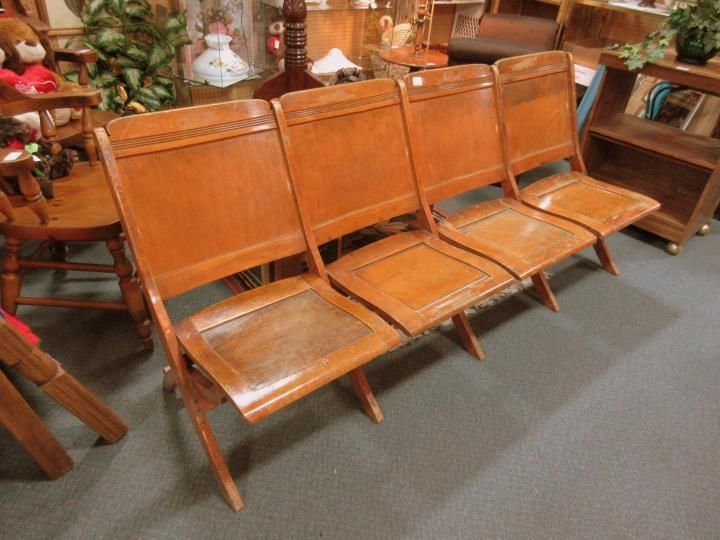 Vintage theatre seating, four fold up chairs. From Vendor 667 in booth 95. - 136 Best Antique & Vintage Furniture Images On Pinterest Denver