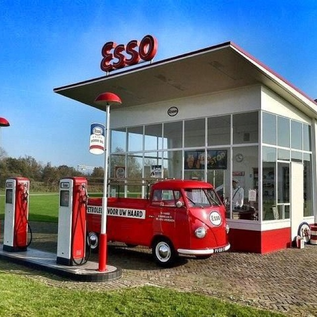 The ESSO gas station and their BUG BUS Service Vehicle