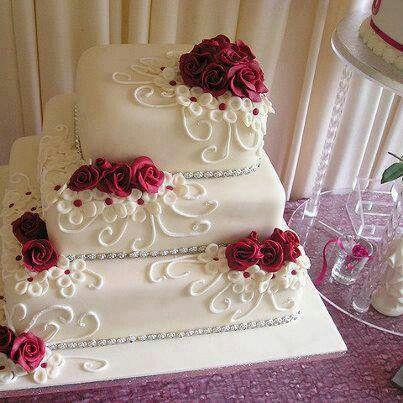 Beautiful Red Rose Wedding Cake