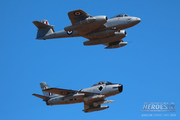 """Ex RAF Gloster Meteor VZ467 / VH-MBX,operated by Temora Aviation Museum, in RAAF colours,of Gloster Meteor F.8 Serial Number A77-851 """"Halestorm"""", in formation with Temora Aviation Museum's ex RAAF Commonwealth Aircraft Corporation (CAC) built Avon Sabre A94-983, delivered 1957."""