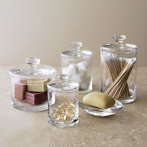Glass Canisters in Bath Accessories   Crate and Barrel. 1000  ideas about Bath Accessories on Pinterest   Bath  Diy bath