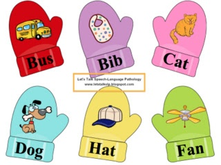 Let's Talk Speech-Language Pathology: Materials Monday - Word Combo Mittens CVC Words