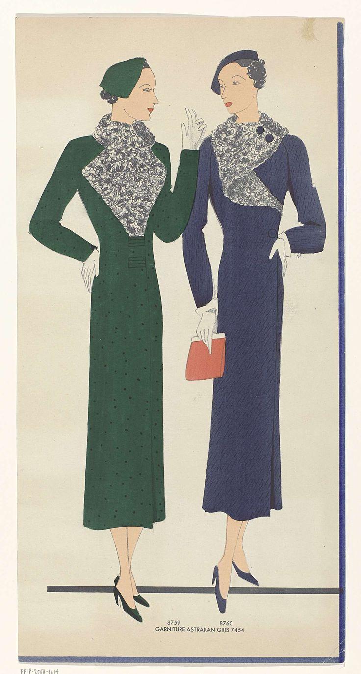 Anonymous   Vrouwen in jurken met garnering van astrakan, 1935, fig. 8757 t/m 8760, Anonymous, 1935   Recto: twee vrouwen, genummerd 8759 en 8760, in een donkergroene en donkerblauwe jurk, beiden met garnering (kraag?) van grijze astrakan (7454). Accessoires:hoeden, korte handschoenen, handtas, pumps. Verso: twee vrouwen, genummerd 8757 en 8758, in een grijs gestreepte jurk met 'garniture astrakinette' (7458) en een bruin gestreepte jurk met garnering van gijze astrakan (7454). De modeprent…