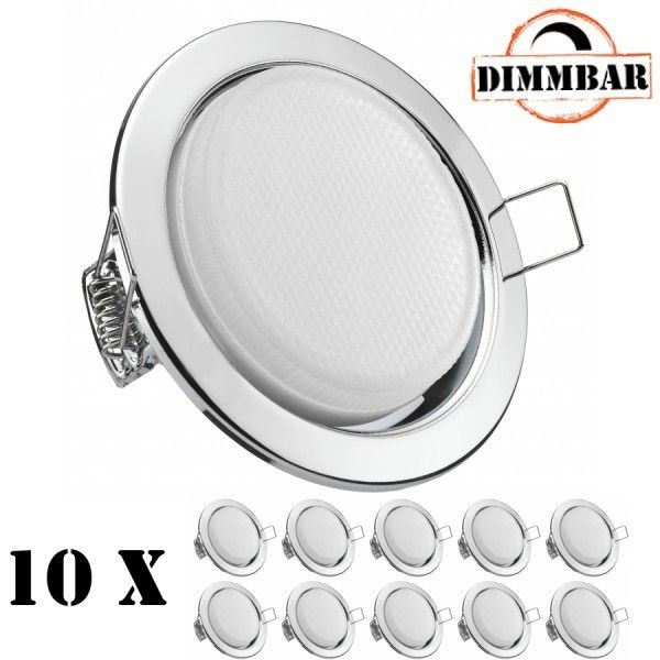 10er LED Einbauleuchten Set extra flach in Chrom mit LED GX53 Markenlampe von LEDANDO - DIMMBAR - 4,