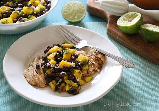 Grilled Chicken with Black Bean Mango Salsa   Skinnytaste