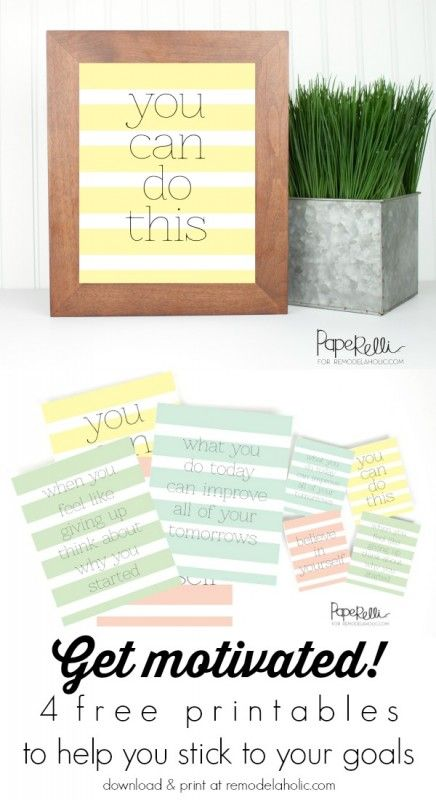 Set of 4 FREE motivational prints from Paperelli on @Remodelaholic #resolutions #goals #printable