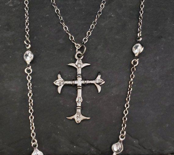 Antique Jewelry Vintage Gothic Cross Silver Flower Cross Pendant Vintage Silver Diamond Cross Necklace Filigree Diamond Cross