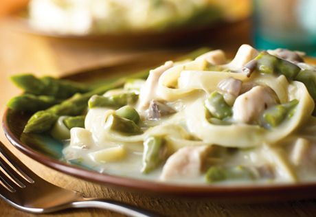 What to do with that leftover chicken? Make this tasty dish that uses canned asparagus and cream of mushroom soup to transform the chicken into a new and exciting dish. I am going to try fresh asparagus. YUM!!