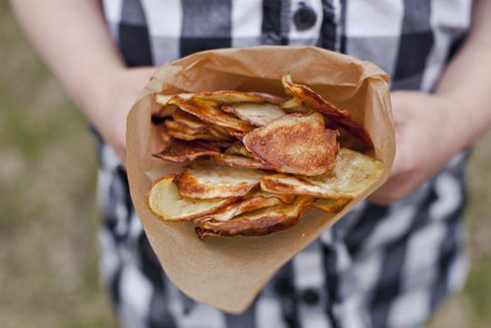 Beautiful golden brown homemade Baked Potato Chips from @Shaina Olmanson of Food for My Family