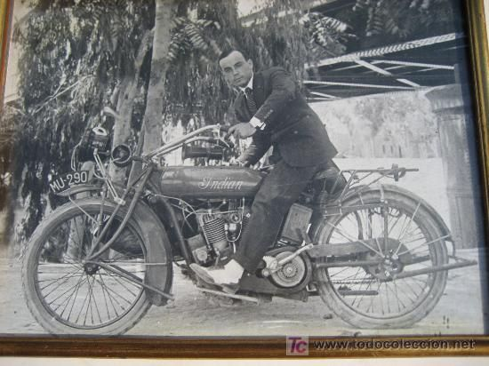 Moto Indian matricula de Murcia 290. Ampliacion de foto antigua enmarcada 39x29 cm. - Foto 1