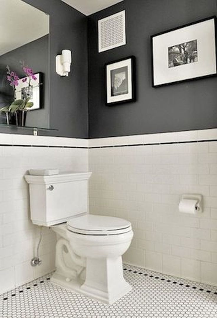 49 Simply Black And White Tile Bathroom Decor Ideas