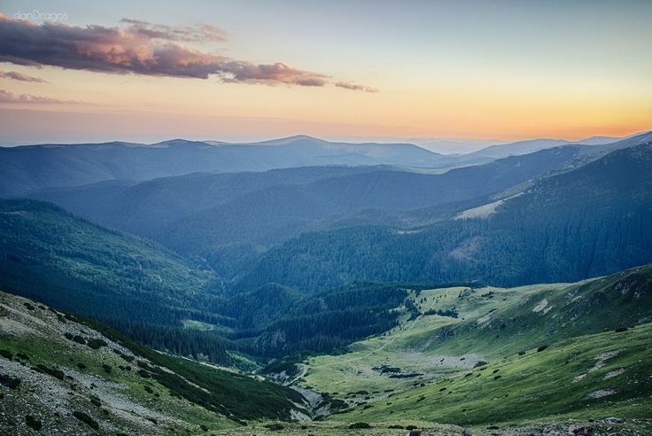 Sunset between mountains Location: Romania